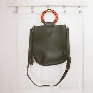 Anthropologie Lucite Handled Olive Tote Bag